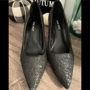 Nine West Shoes - Nine West Black Glitter Pumps 7 EUC